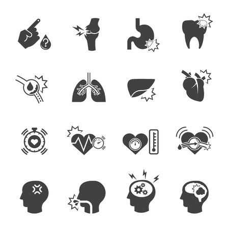 angina: Múltiples enfermedades y símbolo médico, icono del vector