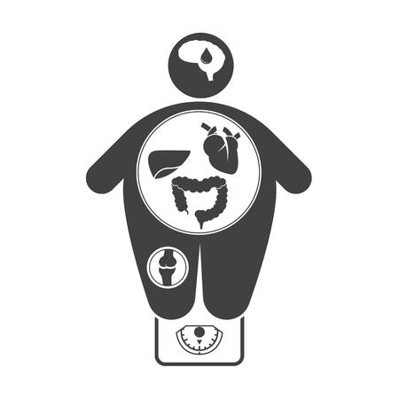 Obesitas gerelateerde ziekten iconen Stock Illustratie
