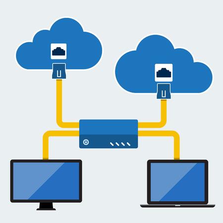 private: Big Data, Cloud computing concept, Vector Flat design