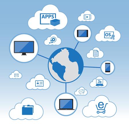 synchronizing: Big Data, Cloud computing concept, Vector Flat design