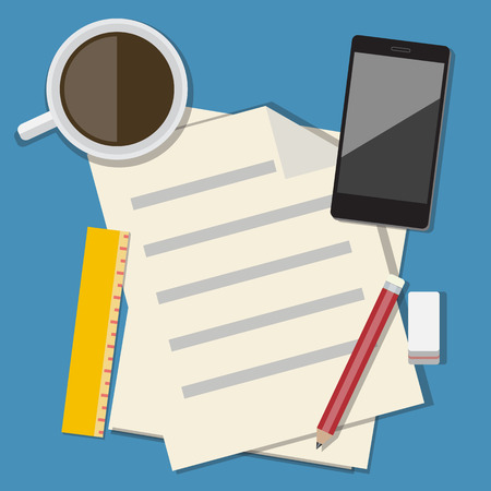 briefing: Workplace with mobile devices and documents