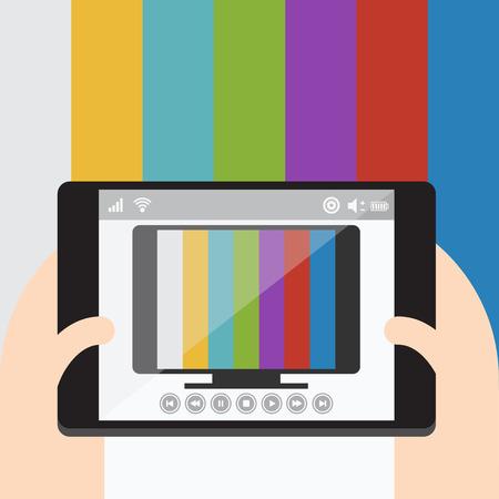 mobile internet: TV on mobile, Internet television, Vector Flat design