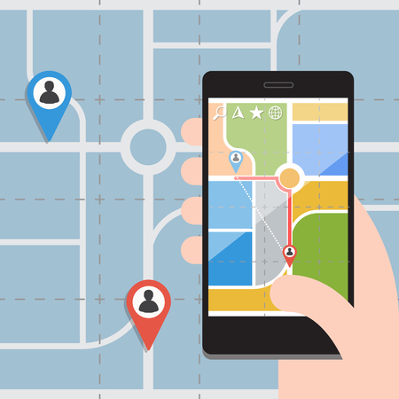 gps navigation: Smart Phones with GPS Navigation Illustration