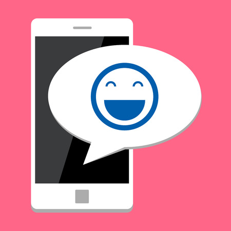 woman on cell phone: Mobile phone with smile bubble