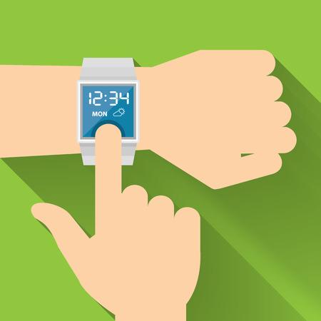 スマートな時計、ベクトル フラット デザイン  イラスト・ベクター素材
