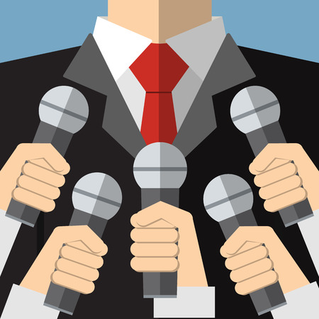 commentator: Press conference with media microphones Illustration