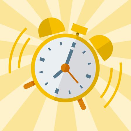 despertarse: Despertar despertador. Diseño plano vectorial