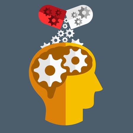 Brain geneeskunde. Vector Flat ontwerp Stock Illustratie