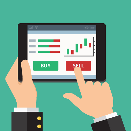 stock trading: Mobile foreign exchange trading. Vector Flat design Illustration