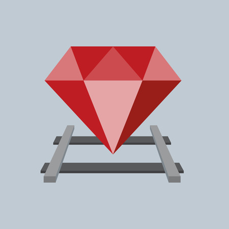 ruby: Ruby on the railway, Vector Flat design