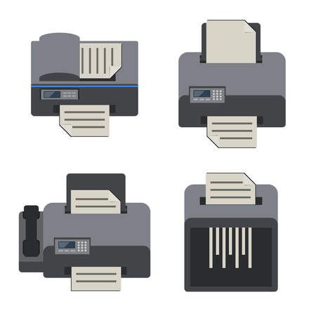 printer icon: Electronics and office device, Flat icons set.