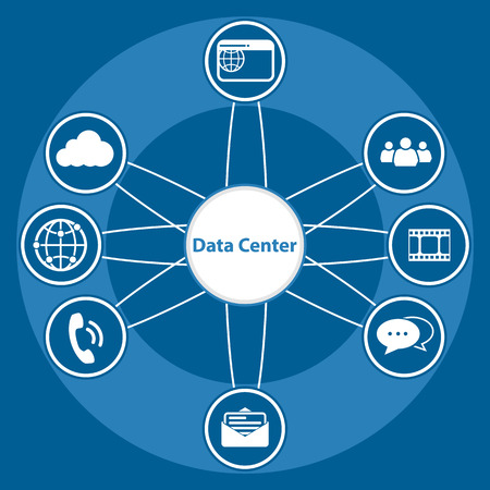 centralized: Big Data icon set, Data center and Centralized