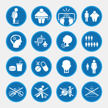 icon set of obesity related diseases, blue circle buttons