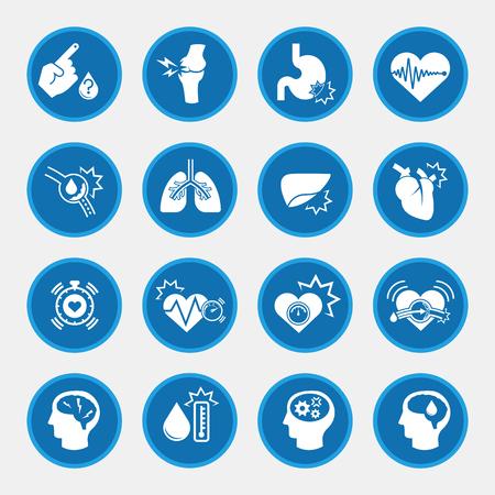 Obesitas gerelateerde ziekten iconen met blauwe cirkel knop