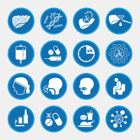 nausea: Liver cancer cause and treatment icons Illustration