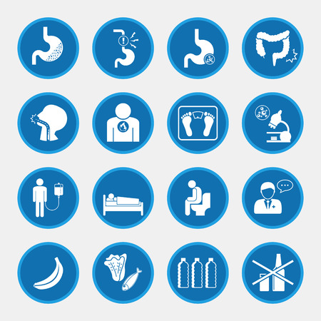 Esophageal cancer icons blue button Stock Vector - 66767295