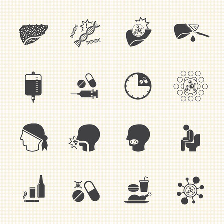 liver cancer: Liver cancer cause and treatment icons Illustration