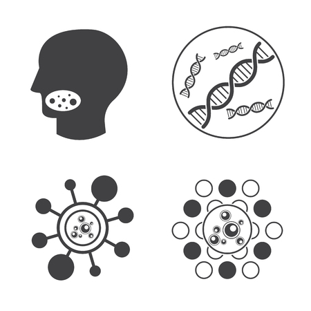 biology lab: Sign of DNA and Virus vector icons set