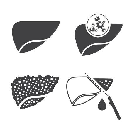 Liver cancer icons set Illustration