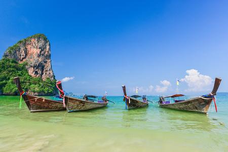 Long tail boat at Railay beach, Krabi Thailand