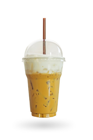 drive through: Iced coffee or caffe latte with milk foam in takeaway cup. Including clipping path.