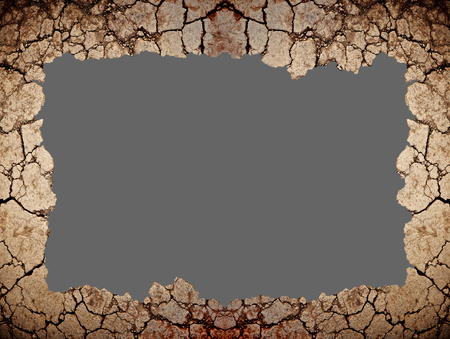 soil texture: Dry ground cracked is border. Isolated on background. Clipping paths included