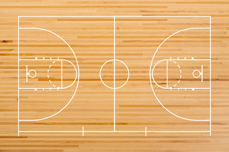 Basketball Court Floor With Line On Wooden Stock Photo Picture