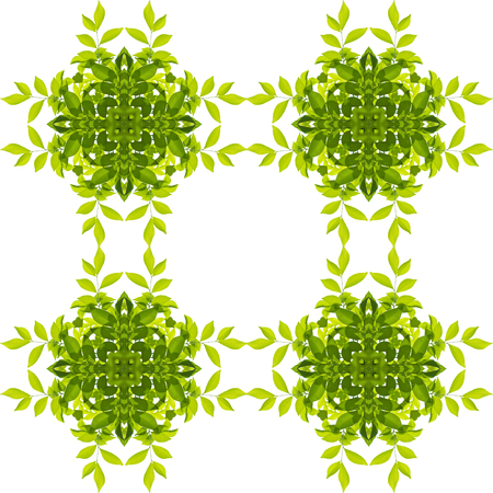 Green leaf pattern isolated on white background. Clipping paths included. Stock Photo