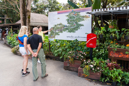guide: MAE FA LUANG, THAILAND - JANUARY 13, 2017: Tourist information center in  Doi Tung Royal Villa and Mae Fah Luang Garden, Northern Thailand.