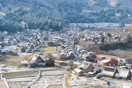 ogimachi: Beautiful lanscape of Gassho-zukuri Village Shirakawago from the Shiroyama Viewpoint a heritage site in Gifu, Japan Stock Photo