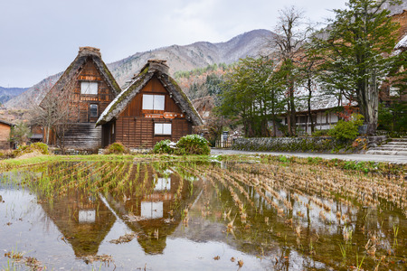 Beautiful landscape of historic villages. The traditional japanese house in the Gassho Zukuri style, Gifu, Japan Stok Fotoğraf