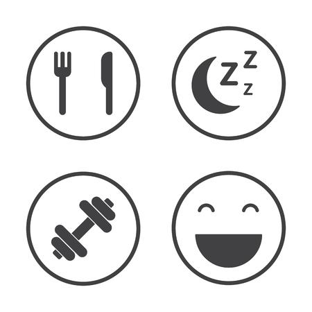 De vier pijlers van gezondheid. Gezondheidszorg pictogrammen ingesteld