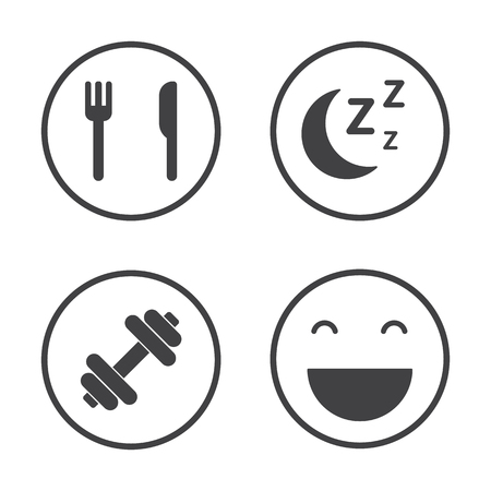 The Four Pillars of Health. Healthcare icons set Illustration