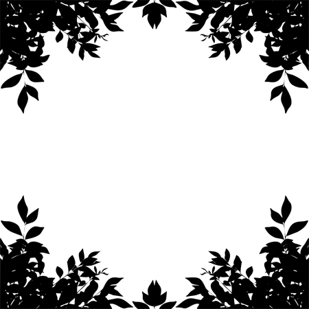 bordered: leaf border silhouette isolated on white background. Clipping paths included.