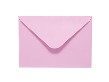 letter envelopes: Pink envelope isolated on white background. Clipping path included. Stock Photo