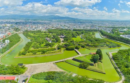 Uitzicht op Goryokaku Park, waar is een ster fort in Hakodate, Hokkaido, Japan. Stockfoto