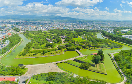 View of Goryokaku Park, where is a star fort in Hakodate, Hokkaido, Japan.