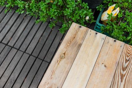 Wooden plank in the garden