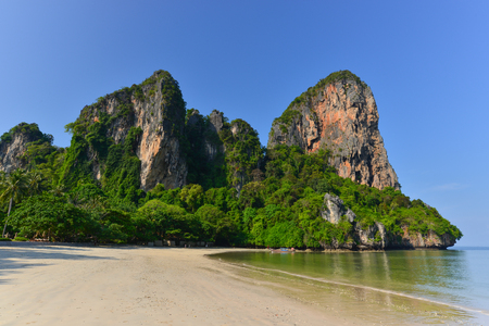 Holidaymakers relaxing on the beach in Rairay Beach, Krabi, Thailand. Rairay beach is one of famous beach in Krabi. Thailand Stock Photo