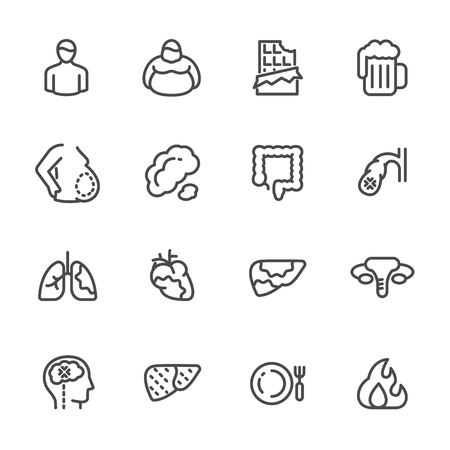 Visceral fat or abdominal fat storing in belly and internal organs and dietary causes of visceral fat. Cancer in internal organs, liver and lungs. vector line icons