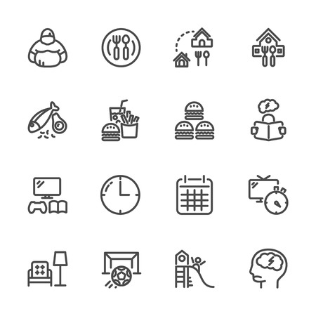 Causes and prevention of Childhood Obesity, Vector line icons set Illustration