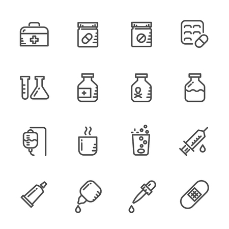 saline: Icons set of Pills Vector line icons
