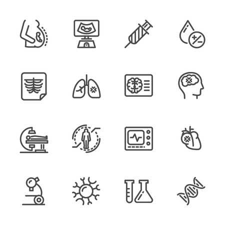 Medical diagnostics Health check up Vector line icons Иллюстрация