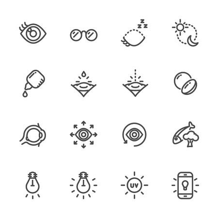 Eye care for good eye health and vision Vector line icons Stock Vector - 83082506