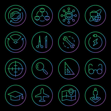 Gradient Rounded Line icons for Virtual Reality innovation technologies. Uses of Virtual Reality. On black background. Illustration