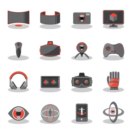 ar: Flat icons for Virtual Reality innovation technologies, AR glasses, VR gaming and tracking device.