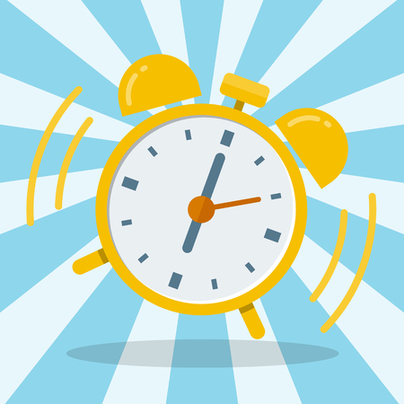 Wake up alarm clock. Vector Flat design, vector illustration. Illustration
