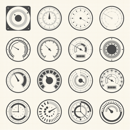 display size: Circular meter, Collection of round gauge. Vector icons set Illustration
