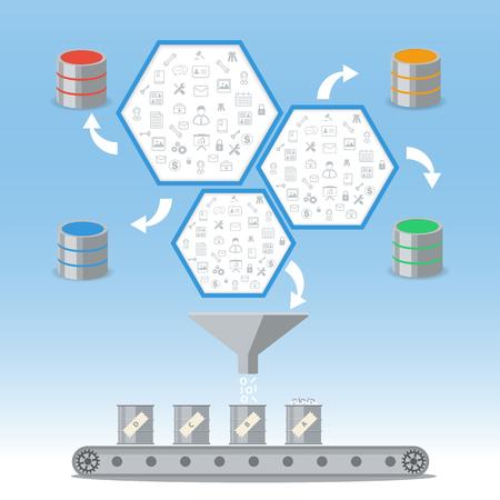 Business intelligence processing and Database management concept. Illustration