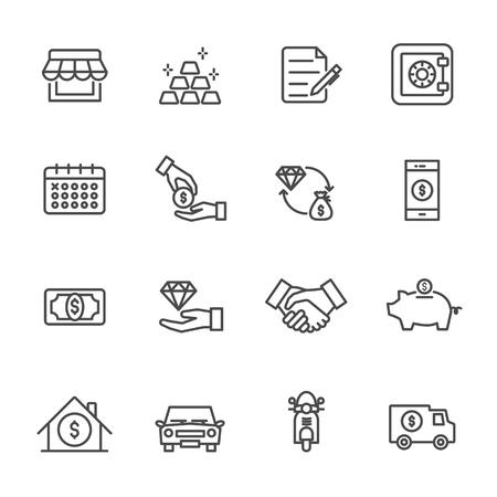 Pawnbroker, set di icone del banco dei pegni